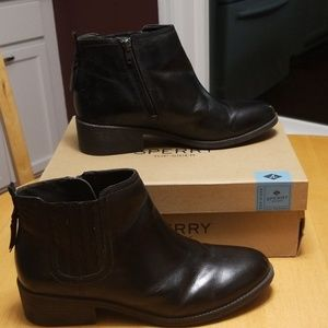 Sperry black leather booties